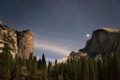 El Captain and Half Dome under the Moonlight